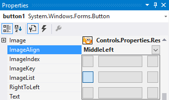 VS Windows Forms - button image align middle, left