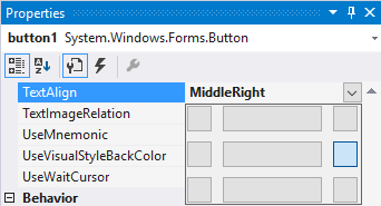 VS Windows Forms - button text align middle, right